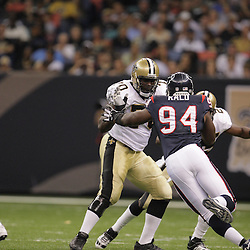 2008 August 16: New Orleans Saints left tackle Jamal Brown (70) blocks Houston Texans defensive end N.D. Kalu during the first half of their preseason match up at the Louisiana Superdome in New Orleans, LA. .