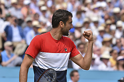 June 23, 2018 - London, England, United Kingdom - Marin Cilic of Croatia celebrates his victory against Nick Kyrgios of Australia in the semi final singles match on day six of Fever Tree Championships at Queen's Club, London on June 23, 2018. (Credit Image: © Alberto Pezzali/NurPhoto via ZUMA Press)
