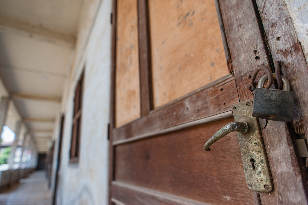 Cell door locked at Tuol Sleng Khmer Rouge Prison in Phnom Penh (Cambodia).