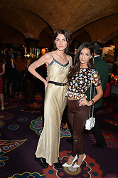 Left to right, FRAN HICKMAN and ROXIE NAFOUSI at Tatler Magazine's Little Black Book Party held at Annabel's, Berkeley Square, London on 5th November 2013.
