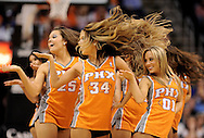 Mar. 14, 2012; Phoenix, AZ, USA; Phoenix Suns cheerleaders perform during a time out at the US Airways Center. The Suns defeated the Jazz 120-111. Mandatory Credit: Jennifer Stewart-US PRESSWIRE..