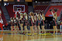 10 December 2017: Red Line Dancers during an College Women's Basketball game between Illinois State University Redbirds and the Eagles of Eastern Michigan at Redbird Arena in Normal Illinois.