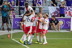 August 4, 2018 - Orlando, FL, U.S. - ORLANDO, FL - AUGUST 04: New England players celebrate after scoring a goal during the soccer match between the Orlando City Lions and the New England Revolution on August 4, 2018 at Orlando City Stadium in Orlando FL. (Photo by Joe Petro/Icon Sportswire) (Credit Image: © Joe Petro/Icon SMI via ZUMA Press)
