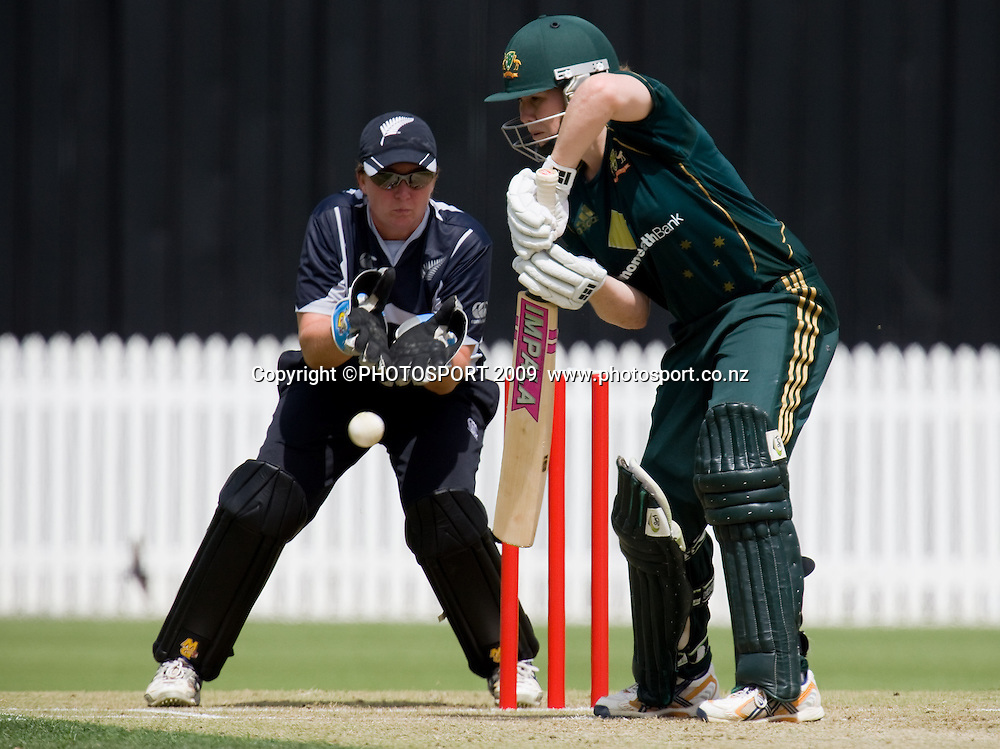 Alex Blackwell bats for Australia during the 3rd ODI Rose Bowl Series cricket match between New Zealand White Ferns and Australia at Seddon Park, Hamilton, New Zealand, Friday 06 February 2009.  Photo: Stephen Barker/PHOTOSPORT