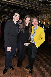 Left to right, MOHAMAD ESREB, CAMILLA AL FAYED and PATRICK COX at the 50th birthday party for Patrick Cox held at the Café Royal Hotel, 68 Regent Street, London on 15th March 2013.