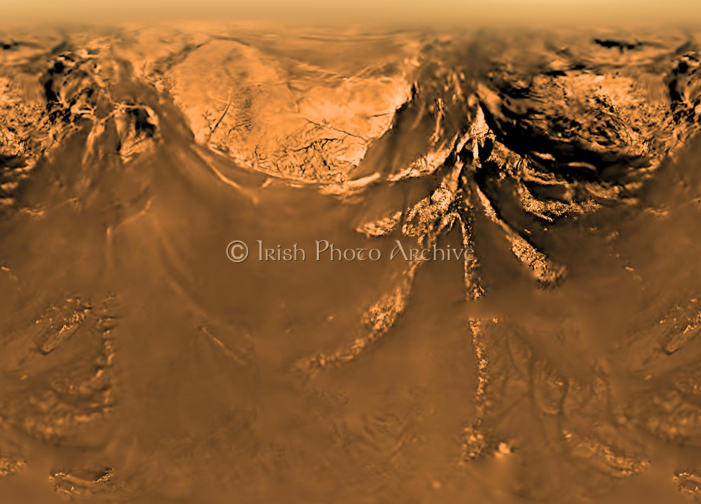 The Huygens probe was delivered to Image of surface of Saturn's moon Titan obtained by the Huyghens probe taken to Titan by the Cassini spacecraft.  Credit: NASA. Science Astronomy Space Travel