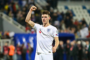 England midfielder Declan Rice celebrates at full time during the UEFA European 2020 Qualifier match between Kosovo and England at the Fadil Vokrri Stadium, Pristina, Kosovo on 17 November 2019.