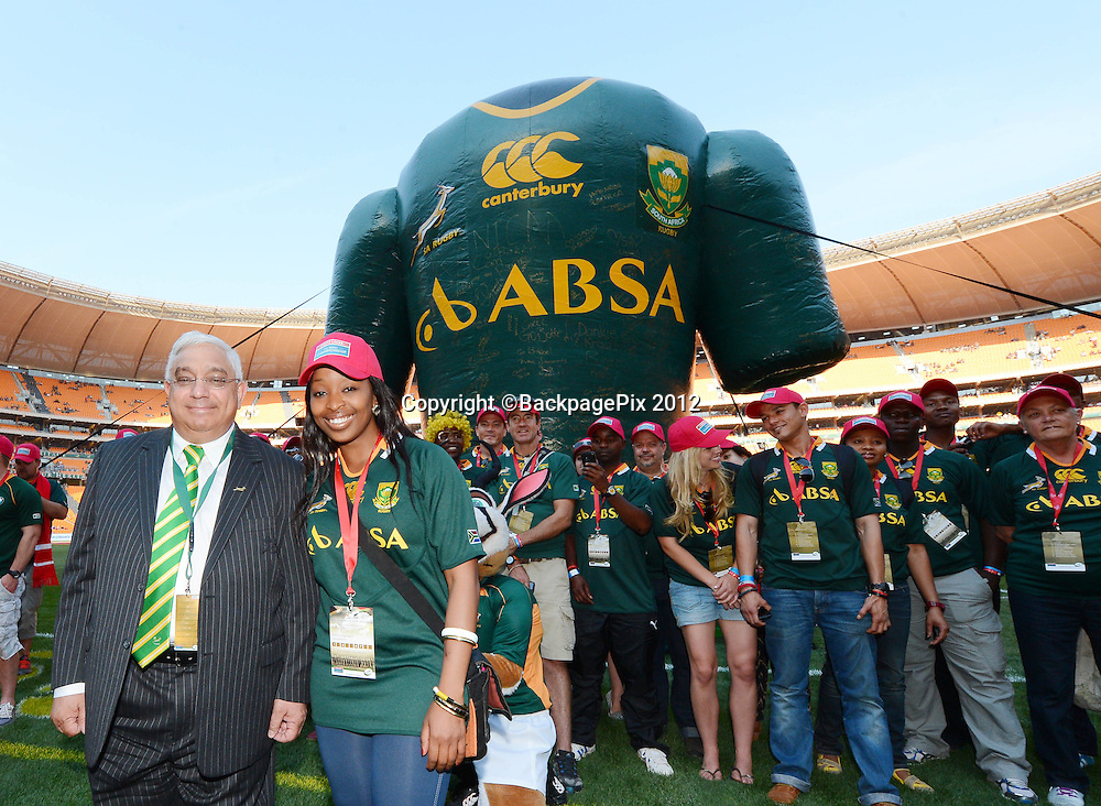 Mark Alexander, deputy president of Saru, receives the million fan Springbok Jersey from he Castle Lager superfans during the 2012 Castle Rugby Championship match between South Africa and New Zealand played at Soccer City in Johannesburg, South Africa on 6 October 2012 © Barry Aldworth/BackpagePix