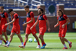 ANN ARBOR, USA - Friday, July 27, 2018: Liverpool's Marko Grujic, Mohamed Salah and Lazar Markovic during a training session ahead of the preseason International Champions Cup match between Manchester United FC and Liverpool FC at the Michigan Stadium. (Pic by David Rawcliffe/Propaganda)