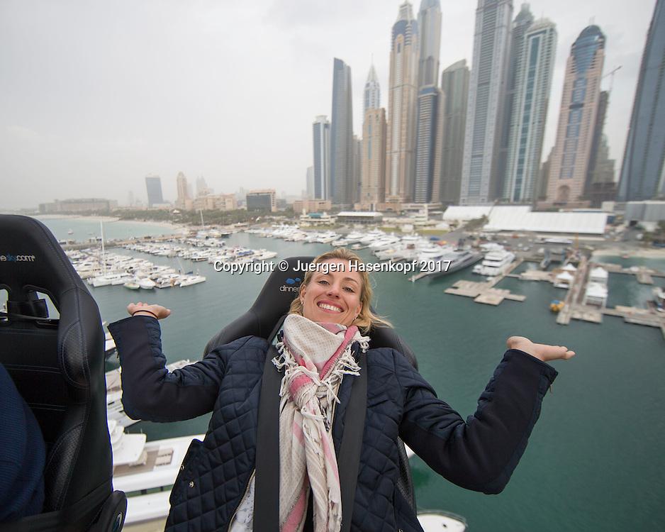 ANGELIQUE KERBER geniesst ihren luftigen Ausflug in 50m Hoehe, Dubai Marine Club und Skyline im Hintergrund,DINNER IN THE SKY UAE<br /> <br /> Tennis - Dubai Tennis Championships 2017 -  WTA -  Dubai Duty Free Tennis Stadium - Dubai  -  - United Arab Emirates  - 20 February 2017.