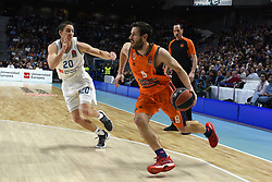 December 19, 2017 - Madrid, Madrid, Spain - Sam Van Rossom (right), #9 of Valencia in action during the 2017/2018 Turkish Airlines EuroLeague Regular Season Round 13 game between Real Madrid and Valencia Basket at WiZink center in Madrid. (Credit Image: © Jorge Sanz/Pacific Press via ZUMA Wire)