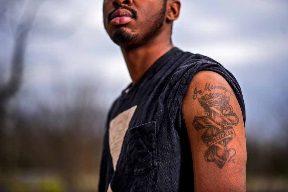 Capitol Heights, Maryland - March 30, 2017: Kerrick Craig, Jr.,  shares the same birthday with his uncle Charles &quot;Chuckie&quot; Craig. He wears a memorial tattoo on his left shoulder for his late uncle.<br /> <br /> <br /> NBA Superstar Kevin Durant's jersey number &quot;35&quot; is a tribute to his rec. league coach and mentor Charles &quot;Chuckie&quot; Craig, who was gunned down in at a night club in Laurel, Md., in 2005 when he was 35 years old. <br /> <br /> CREDIT: Matt Roth for The New York Times<br /> Assignment ID: 30204524A