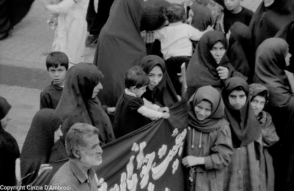 "Every 10th of Moharam, the Shia Muslim mourn the death of the prophet Hussein forming a procession in the streets. Some followers show their grief by hurting themselves. A reportage on the ""Ashora"" in Tehran, Iran."