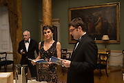 KIRA SACARELLO-TSERETELI; VASILI TSERETELI; Professor Mikhail Piotrovsky Director of the State Hermitage Museum, St. Petersburg and <br /> Inna Bazhenova Founder of In Artibus and the new owner of the Art Newspaper worldwide<br /> host THE HERMITAGE FOUNDATION GALA BANQUET<br /> GALA DINNER <br /> Spencer House, St. James's Place, London<br /> 15 April 2015