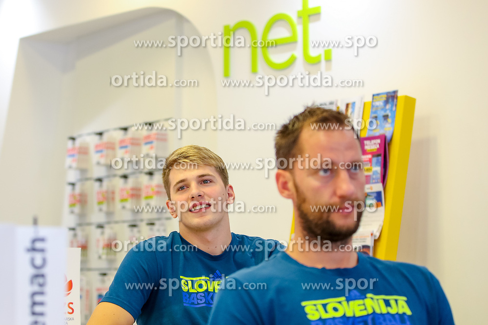 Luka Doncic and Sasa Zagorac at press conference of Slovenian national team before Eurobasket 2017, on August 28, 2017 in Telemach, Ljubljana, Slovenia. Photo by Matic Klansek Velej / Sportida