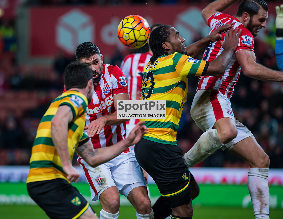 Stoke City forward Jonathan Walters (19) Norwich City forward Cameron Jerome (10) Stoke City defender Erik Pieters (3) challenge for a high ball