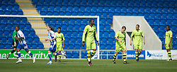 COLCHESTER, ENGLAND - Saturday, April 24, 2010: Tranmere Rovers' players look dejected after conceding the first goal during the Football League One match at the Western Community Stadium. (Photo by Gareth Davies/Propaganda)