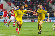 AFC Wimbledon forward Kwesi Appiah (9) celebrates after scoring his team's second goal from the penalty spot during the EFL Sky Bet League 1 match between Rotherham United and AFC Wimbledon at the AESSEAL New York Stadium, Rotherham, England on 15 February 2020.