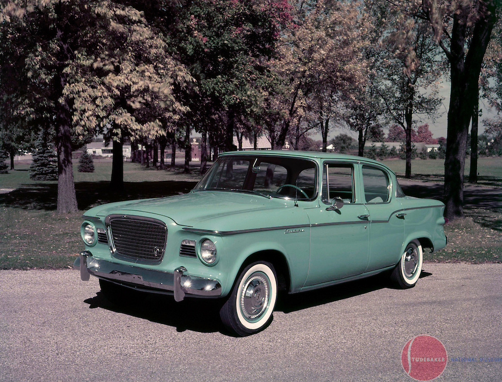 A 1959 Studebaker Lark is shown in this Studebaker promotional image.