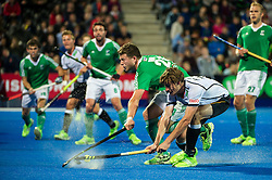 Ireland's Kyle Good block the shot of Florian Fuchs og Germany. Ireland v Germany - Unibet EuroHockey Championships, Lee Valley Hockey & Tennis Centre, London, UK on 23 August 2015. Photo: Simon Parker