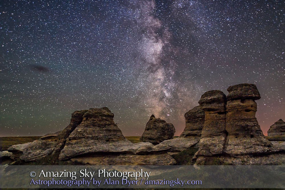 The Milky Way over the sandstone hoodoos of Writing-on-Stone Provincial Park in southern Alberta. <br />
