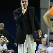 New York Liberty Head Coach Bill Laimbeer provides instructions to his players in the first period of a WNBA preseason basketball game between the Chicago Sky and the New York Liberty Friday, May. 22, 2015 at The Bob Carpenter Sports Convocation Center in Newark, DEL