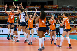 15-10-2018 JPN: World Championship Volleyball Women day 16, Nagoya<br /> Netherlands - USA 3-2 / Maret Balkestein-Grothues #6 of Netherlands, Myrthe Schoot #9 of Netherlands, Yvon Belien #3 of Netherlands, Laura Dijkema #14 of Netherlands, Celeste Plak #4 of Netherlands, Lonneke Sloetjes #10 of Netherlands