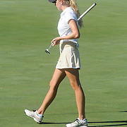Wake Forest's Marissa Dodd prepares to putt Sunday October 26, 2014 during the 13th annual Landfall Tradition in Wilmington, N.C. (Jason A. Frizzelle)
