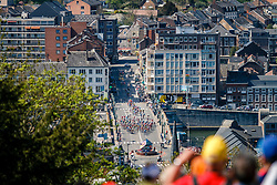 Peloton on a bridge across the Meuse at the 2018 La Flèche Wallonne race, Huy, Belgium, 18 April 2018, Photo by Thomas van Bracht / PelotonPhotos.com | All photos usage must carry mandatory copyright credit (Peloton Photos | Thomas van Bracht)