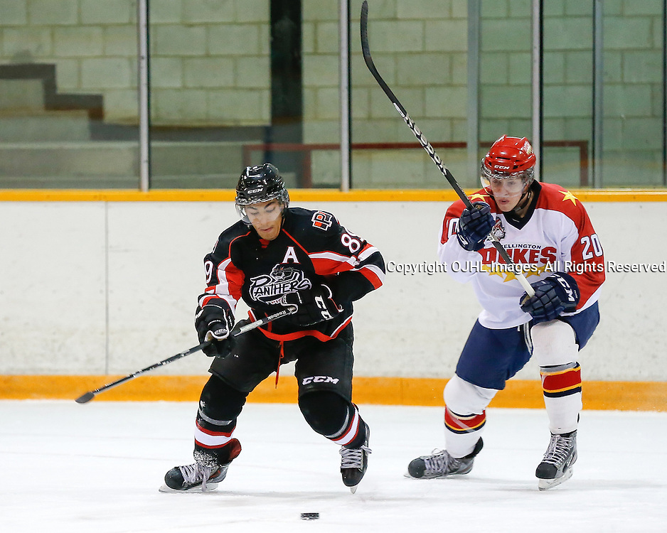 PICKERING, ON - Sep 14 : Ontario Junior Hockey League Game Action between the Pickering Panthers and the Wellington Dukes, Riley Devine #89 of the Pickering Panthers Hockey Club and Connor Judson #20 of the Wellington Dukes Hockey Club skates after the puck<br /> (Photo by Keith White / OJHL Images)