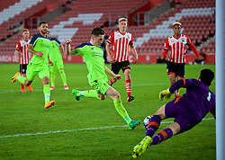 SOUTHAMPTON, ENGLAND - Monday, April 10, 2017: Liverpool's captain Harry Wilson scores the second goal against Southampton to equalise the score at 2-2 during FA Premier League 2 Division 1 Under-23 match at St.Mary's Stadium. (Pic by David Rawcliffe/Propaganda)