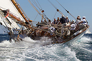 "FRANCE, St Tropez. 3rd October 2012. Voiles de St Tropez. 19-metre class yacht ""Mariquita"" built in 1911, designed by William Fife III."