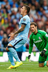Stevan Jovetic of Manchester City screams out after a missed chance - Photo mandatory by-line: Rogan Thomson/JMP - 07966 386802 - 30/08/2014 - SPORT - FOOTBALL - Manchester, England - Etihad Stadium - Manchester City v Stoke City - Barclays Premier League.