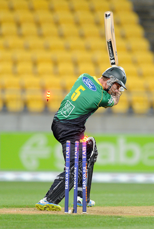 Central Stags Ben Smith is bowled by Wellington Firebirds Dane Hutchinson in the HRV T20 cricket match at Westpac Stadium, Wellington, New Zealand, Friday, November 22, 2013. Credit:SNPA / Ross Setford