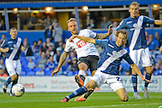 Jonathan Spector tackles Johnny Russell during the Sky Bet Championship match between Birmingham City and Derby County at St Andrews, Birmingham, England on 21 August 2015. Photo by Alan Franklin.