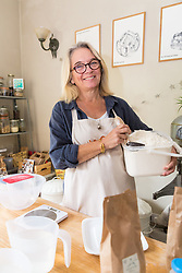 Baker Liz Wilson leads classes where participants learn a number of baking methods at her Fulham home in London. London, August 16 2019.
