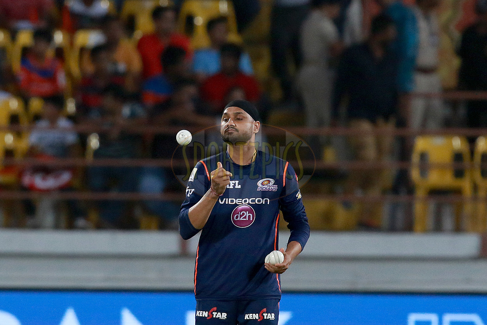 Harbhajan Singh of MI before match 35 of the Vivo 2017 Indian Premier League between the Gujarat Lions and the Mumbai Indians  held at the Saurashtra Cricket Association Stadium in Rajkot, India on the 29th April 2017<br /> <br /> Photo by Rahul Gulati - Sportzpics - IPL