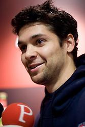 Player Saso Ozbolt at press conference of KK Union Olimpija, on October 12, 2009, in Arena Tivoli, Ljubljana, Slovenia.  (Photo by Vid Ponikvar / Sportida)