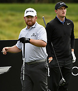 (l-r) Pro golfer J.B. Holmes and University of Kentucky golfer Lukas Euler on the 2nd tee. College players were paired with tour pros during the Collegiate Showcase during the Genesis Open at Riviera Country Club. The low scoring college player will get an exemption to play in the tournament that begins on Thursday. Los Angeles, CA 1/025/2018 (Photo by John McCoy)