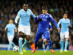 Yaya Toure of Manchester City and Miguel Veloso of Dynamo Kyiv  - Mandatory byline: Matt McNulty/JMP - 15/03/2016 - FOOTBALL - Etihad Stadium - Manchester, England - Manchester City v Dynamo Kyiv - Champions League - Round of 16