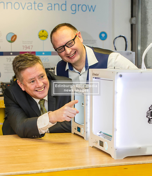Pictured: Keith Brown with Stuart Brown, Head of SME Barclays banking Scotland<br /> Today Keith Brown MSP opened Scotland's first Barclays Eagle lab in partnership with CodeBase. The resource allows businesses and communities to access new technologies and boost digital skills while supporting job creation in the local economy. <br /> <br /> Ger Harley | EEm 16 January 2018