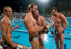 Borut, Anzeljc, Rok Crnica of VK Rokava Koper celebrate after the water polo match between ASD Vaterpolo Rokava Koper and AVK Triglav Kranj in 3rd Round of Final of Slovenian Water polo National Championship, on June 8, 2011 in Zusterna pool, Koper, Slovenia. Rokava Koper defeated Triglav Kranj 12-6 and became Slovenian Champion 2011. (Photo By Vid Ponikvar / Sportida.com)