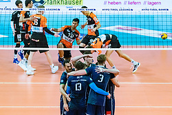 17.04.2019, Olympiahalle Innsbruck, Innsbruck, AUT, VBL, Deutsche Volleyball Bundesliga, HYPO Tirol Alpenvolleys Haching vs Berlin Recycling Volleys, Halbfinale, 3. Spiel, im Bild Jubel Tirol // during the German Volleyball Bundesliga (VBL) 3rd semifinal match between HYPO Tirol Alpenvolleys Haching and Berlin Recycling Volleys at the Olympiahalle Innsbruck in Innsbruck, Austria on 2019/04/17. EXPA Pictures © 2019, PhotoCredit: EXPA/ JFK