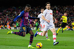 BARCELONA, Jan. 14, 2019  SP)SPAIN-BARCELONA-SOCCER-LA LIGA-BARCELONA VS EIBAR.    Barcelona's Ousmane Dembele (Front L) competes.    during a Spanish league match between FC Barcelona and SD Eibar in Barcelona, Spain, on Jan. 13, 2019. FC Barcelona won 3-0. (Credit Image: © Joan Gosa/Xinhua via ZUMA Wire)