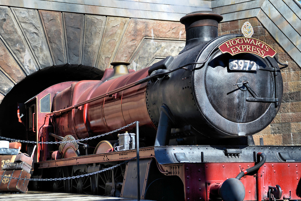 Hogwarts Express Train at Islands of Adventure in Orlando, Florida<br /> When you enter the Wizarding World of Harry Potter at Islands of Adventures, you immediately see the Hogwarts Express. You&rsquo;ll be as excited as a student that has just been transported from London to Hogsmeade Station near the 10th century boarding school. Although this train reproduction does not move, a new working Hogwarts Express is operational between this attraction and the new one at neighboring Universal Studios Florida where, of course, you arrive at King&rsquo;s Cross Station.