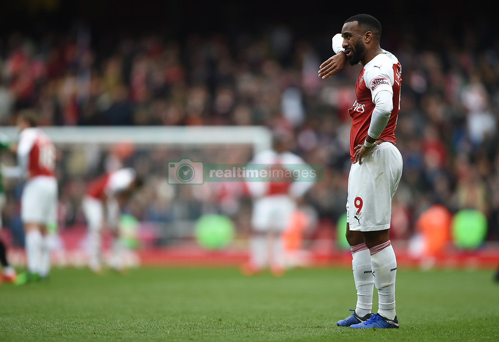 Arsenal's Alexandre Lacazette shows dejection at full time
