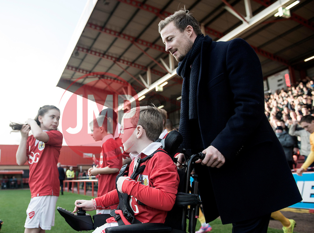 Oskar Pycroft leads the team out with Bristol City's Wade Elliott   - Photo mandatory by-line: Joe Meredith/JMP - Mobile: 07966 386802 - 22/11/2014 - Sport - Football - Bristol - Ashton Gate - Bristol City v Preston North End - Sky Bet League One