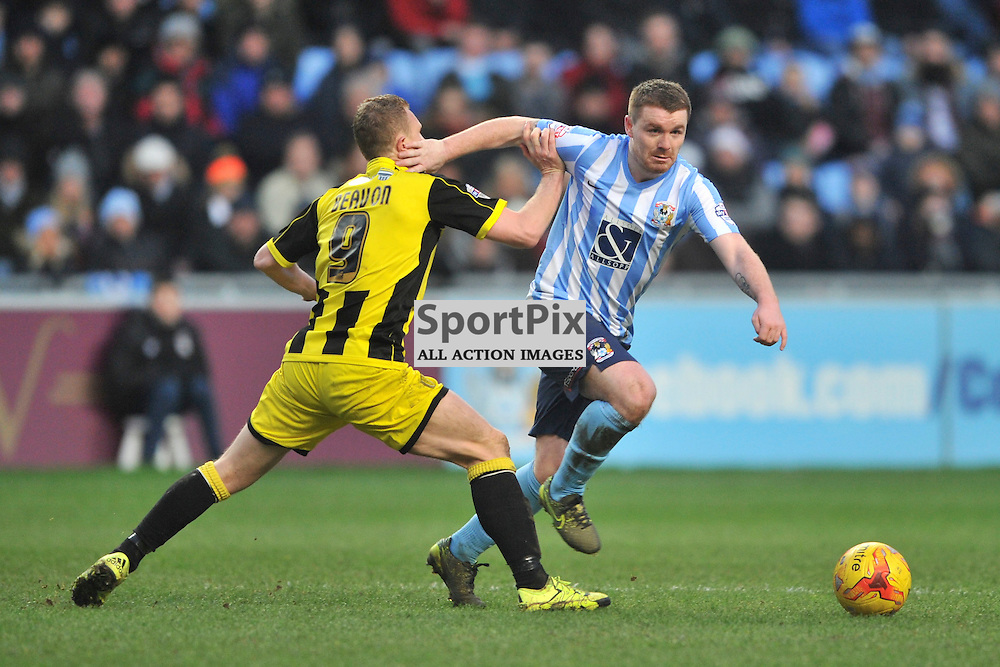 Burtons Stuart Beavon holds back John Fleck Coventry City  Coventry City, Coventry City v Burton Albion, Ricoh Arena,  Sky Bet League 1, Saturday 16th JJanuary 2016, (Mike Capps/Sportpix)