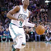 04 March 2012: Boston Celtics point guard Rajon Rondo (9) eyes the basket during the Boston Celtics 115-111 (OT) victory over the New York Knicks at the TD Garden, Boston, Massachusetts, USA.