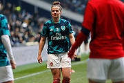 Emma Mitchell warms up before the FA Women's Super League match between Tottenham Hotspur Women and Arsenal Women FC at Tottenham Hotspur Stadium, London, United Kingdom on 17 November 2019.